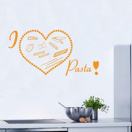 wandtattoo i love pasta k che pasta nudeln crazy art. Black Bedroom Furniture Sets. Home Design Ideas